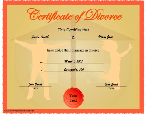 a celebratory  funny certificate of divorce showing