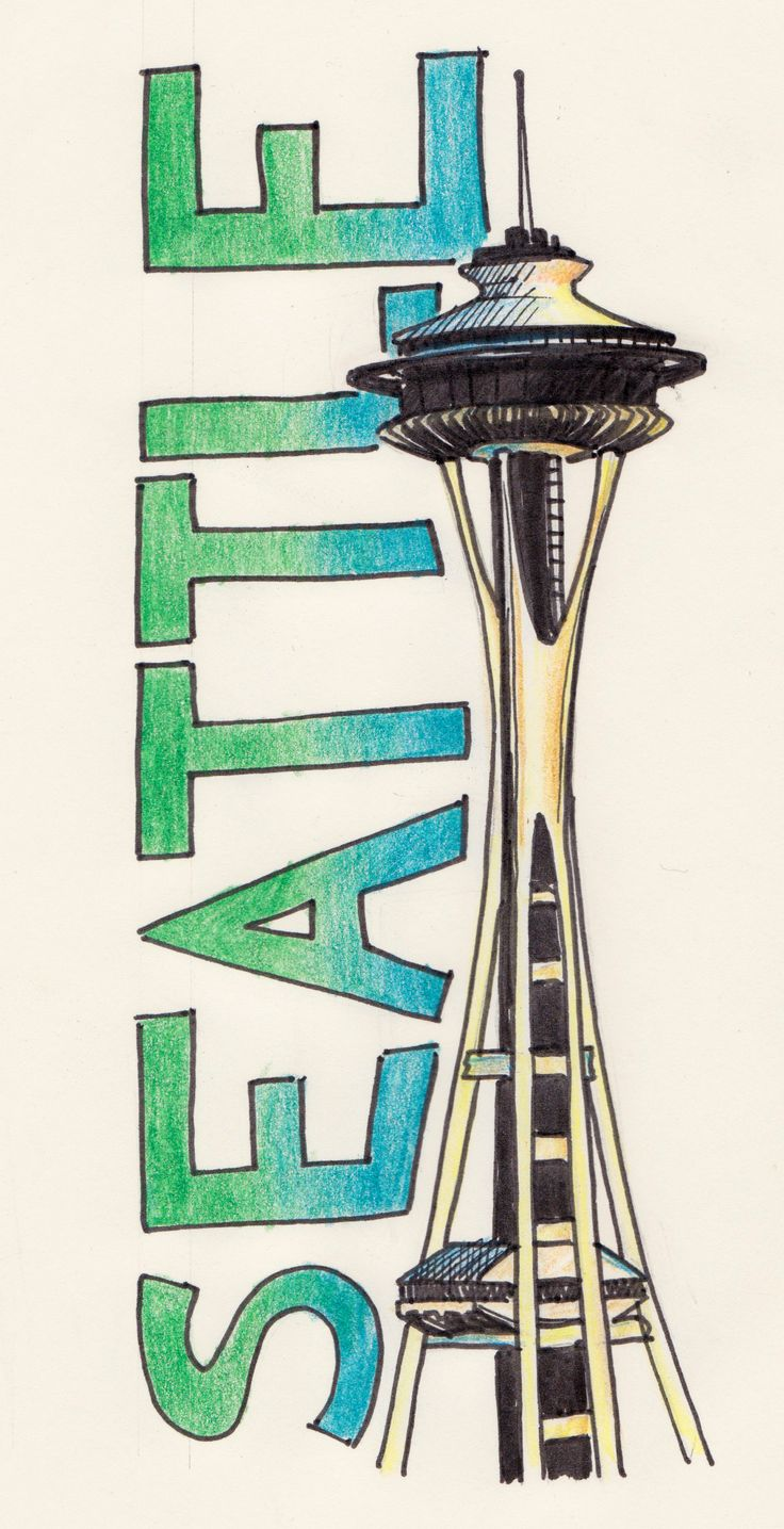 Pics For > Space Needle Drawing | Aby's ideas | Pinterest ...