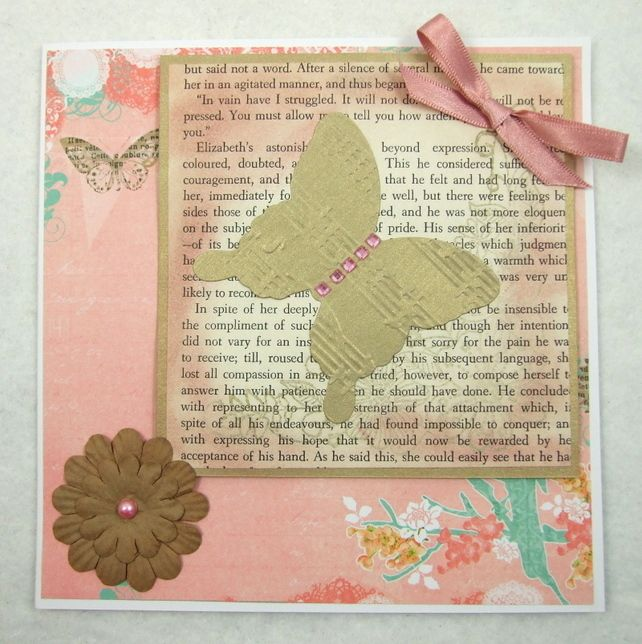Handmade Vintage Style Greeting Card - Female - Butterfly £1.35