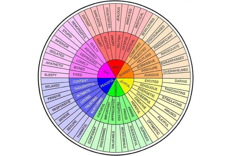 The Feeling Wheel developed by Dr. Gloria Wilcox. Useful for identifying specific feelings and emotions. For writers: It can help you get to the core emotion you are experiencing and help you name each feeling when you're overwhelmed with many emotions.