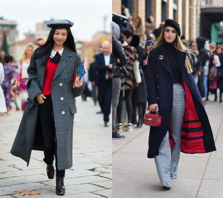 barett mütze stylen modern trend schwarz elegant langer mantel  #fashion #style