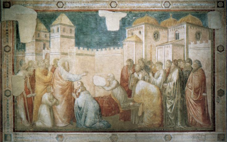Giotto: 'De opwekking van Drusiana' ~ na 1317 ~ Fresco ~ S. Croce, Florence