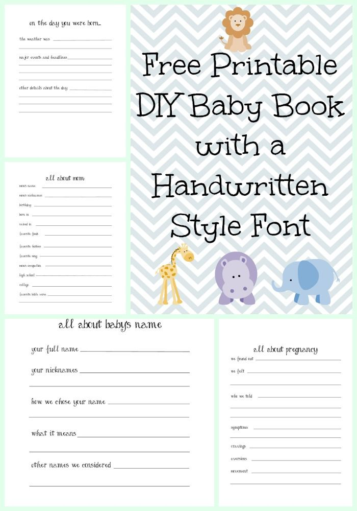 Make a DIY Baby Book with a Handwritten Style Font with Free Printables {2nd Edition} - Bare Feet on the Dashboard #diy #babybook #freeprintable