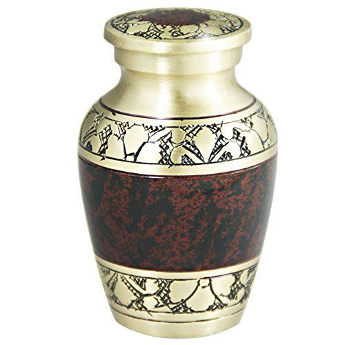Keepsake Funeral Urn by Meilinxu Mini Cremation Urn for Human Ashes Adult  Brass Hand Engraved  Fits a Small Amount of Cremated Remains Display Burial Urn at Home or Office Tranquility Brown Baby ** Details can be found by clicking on the image.