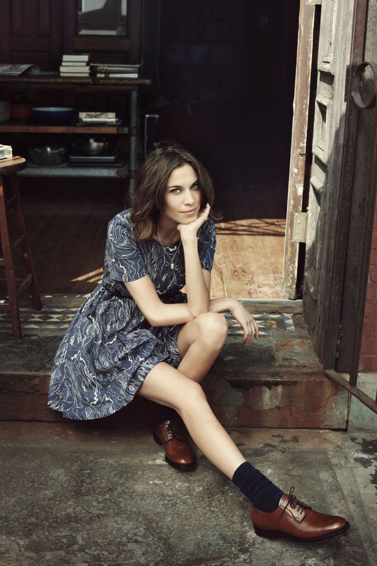 Alexa Chung. Black socks with brown shoes?! Yes.