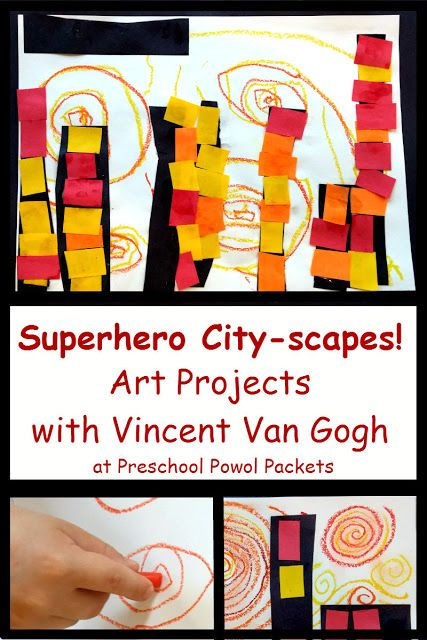 Superhero Cityscape Art Project with Van Gogh!  These are great for preschool through 3rd grade!!  Details, stories, and more at Preschool Powol Packets