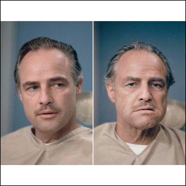 Marlon Brando during makeup for Don Corleone in The Godfather.