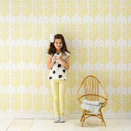 Roomblush Behang Feathers geel papier 1140x50cm