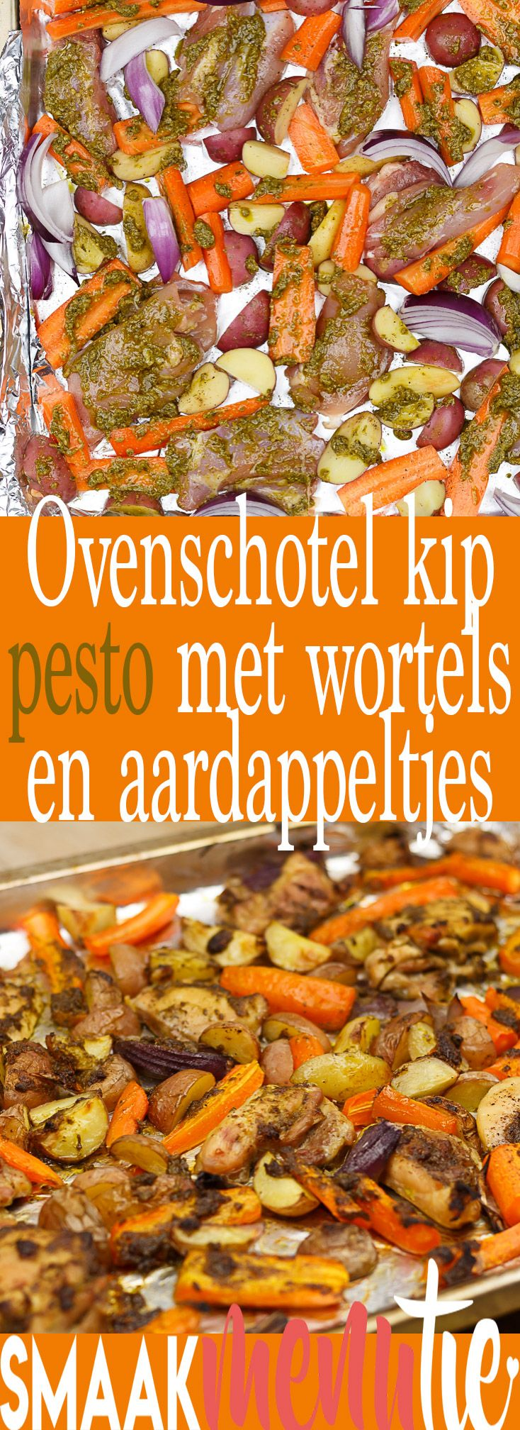 Ovenschotel kip pesto met wortels en aardappeltjes #recipe #recept #ovenschotel #oven