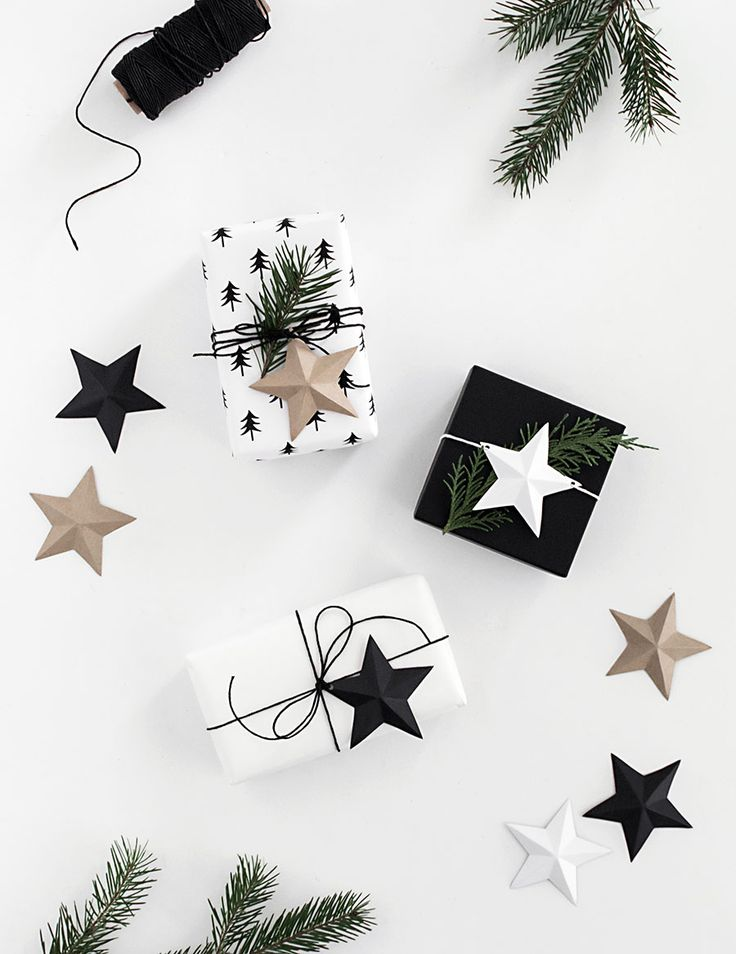 Free download 3D paper star gift topper.