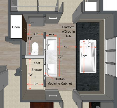 Design Basics for Master Bath idea book giving ideal measurements and THIS plan which I LOVE. Hmm now should we rob some space from the middle bedroom to achieve this look? Or move the door??