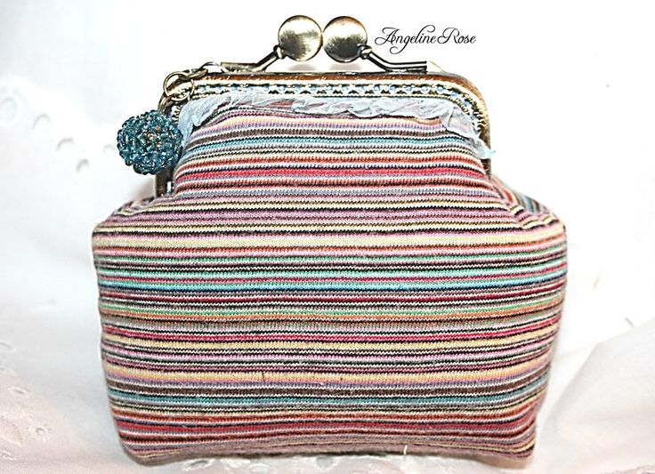 colorful striped coin purse, colorful kiss lock purse, angeline rose purse, unique handmade purse, colorful clutch by AngelineRosePurse on Etsy