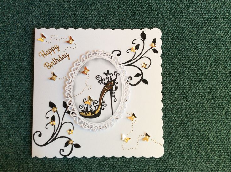 Birthday card using Tattered lace shoe die