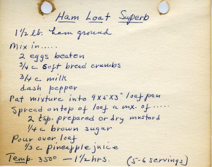 Grammy's Ham Loaf Superb