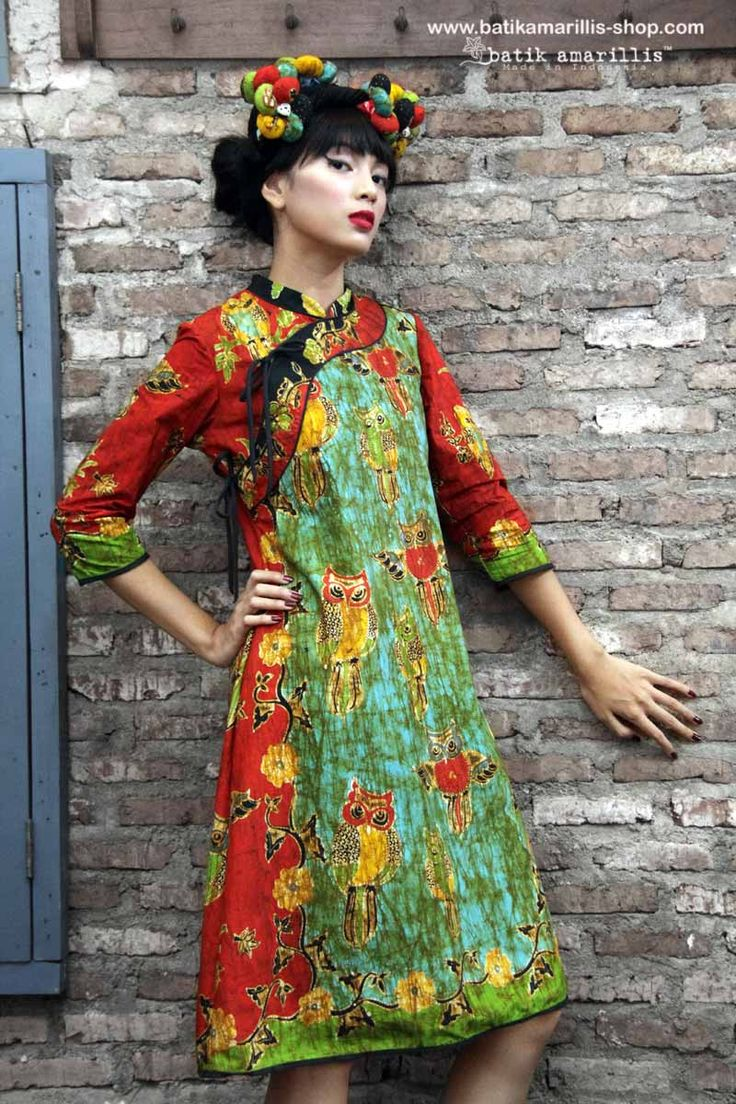 batik amarillis's joyluck dress in handrawn batik wonogiren owl series Ethnic inspired outfit to bring you Joy & Luck.. beautiful reinvention of classic Qipao with exquisite detailing such as color combos,handmade chinese frog button,fittingly beautiful & it provides the ideal combination of comfort & style
