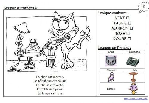 Lire pour colorier Cycle 2 et plus sur le site