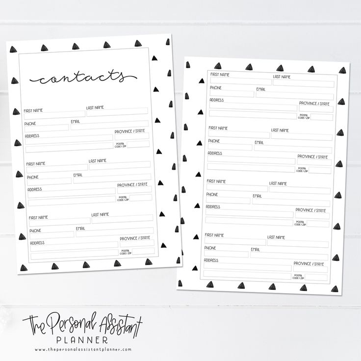 8.5x11 Contacts Printable Planner Insert Pages - The Personal Assistant Business Planner