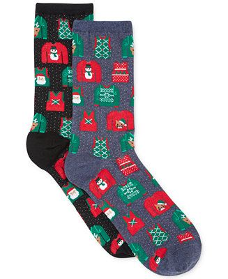 Sweaters aren't the only spot to show your holiday spirit! Get 3 for $15 of these Hot Sox Ugly Sweater Crew Socks ($6 each) at Macy's CA #UglySweater #Swagbucks #CandyCaneGang Carnival90 @swagbucks