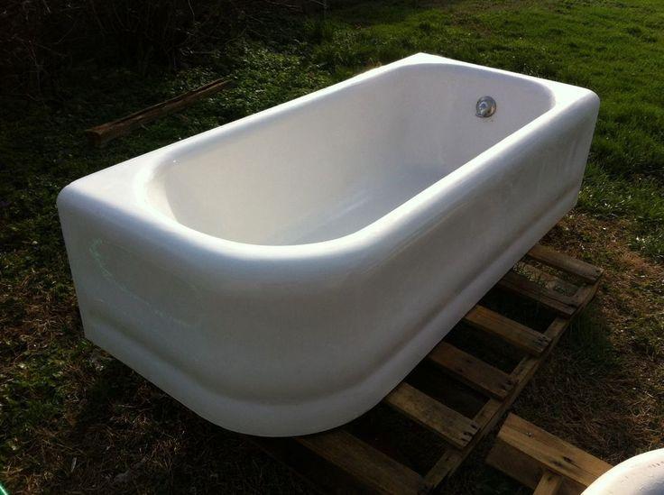 Antique Cast Iron Kohler Early Apron Tub Extra Long Bathtub *Free Ship 1928  #Kohler | bathrooms | Pinterest |