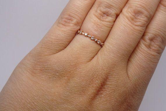 Bande de broches de diamant en or Rose 14K par FehmisCreations