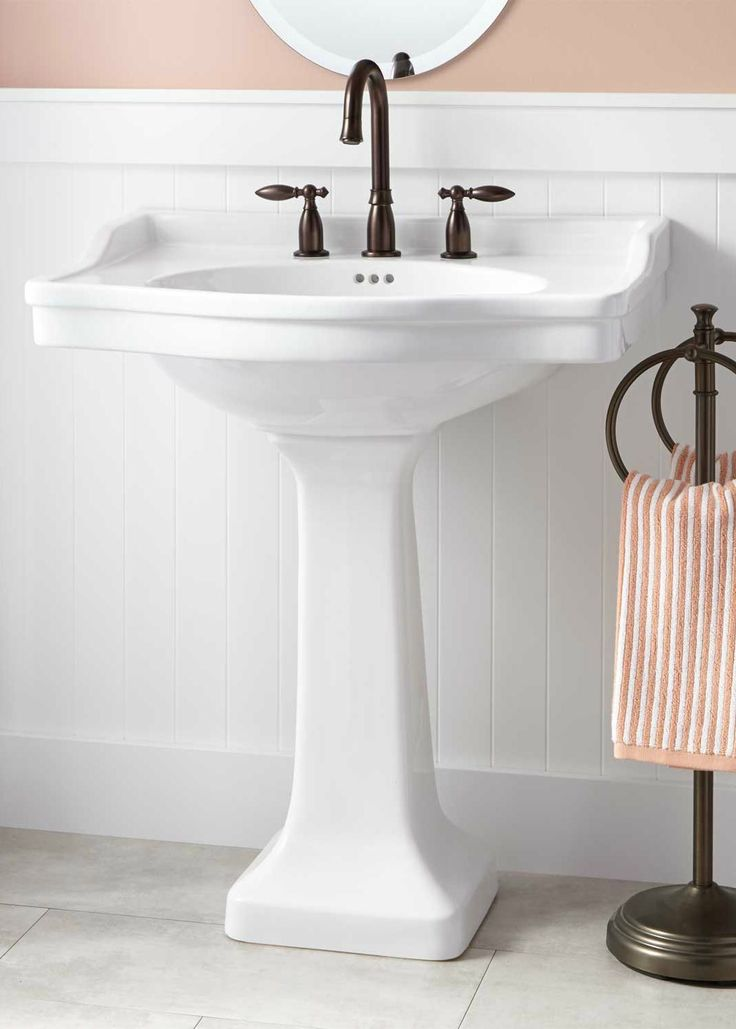This oversized pedestal sink features a large basin top with plenty of counter space, which is perfect for soap dispensers or other bath items. Place this beautiful sink in your traditional-style bathroom to refresh your space.