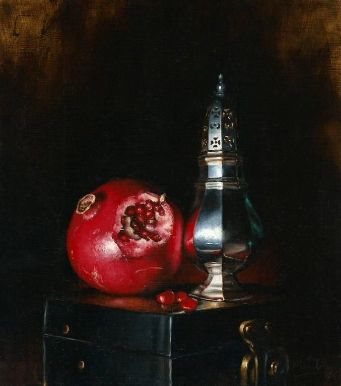 Matt Curtis  Pomegranite and Sugar Sifter still life oil painting  2016