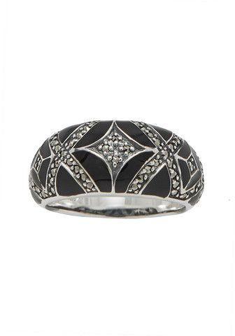 18-166 Black Enamel and Marcasite Dome Ring ❤️ Art Deco style