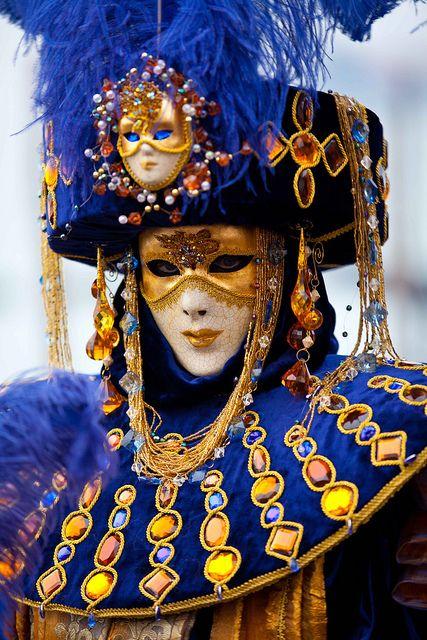 Venetian Masks. Mardi Gras, Carnival, Carnivale, Royal blue, yellow, gold, feathers, plumes. Masquerade.