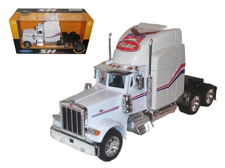 Peterbilt 379 Cab White 1/32 Diecast Model by Welly - Brand new 1:32 scale diecast car model of Peterbilt 379 Cab White die cast car model by Welly. Brand new box. Rubber tires. Has opening doors. Detailed interior, exterior. Made of diecast with some plastic parts. Dimensions approximately L-10, W-4.5, H-3 inches. Please note that manufacturer may change packing box at anytime. Product will stay exactly the same.-Weight: 3. Height: 8. Width: 15. Box Weight: 3. Box Width: 15. Box Height: 8…