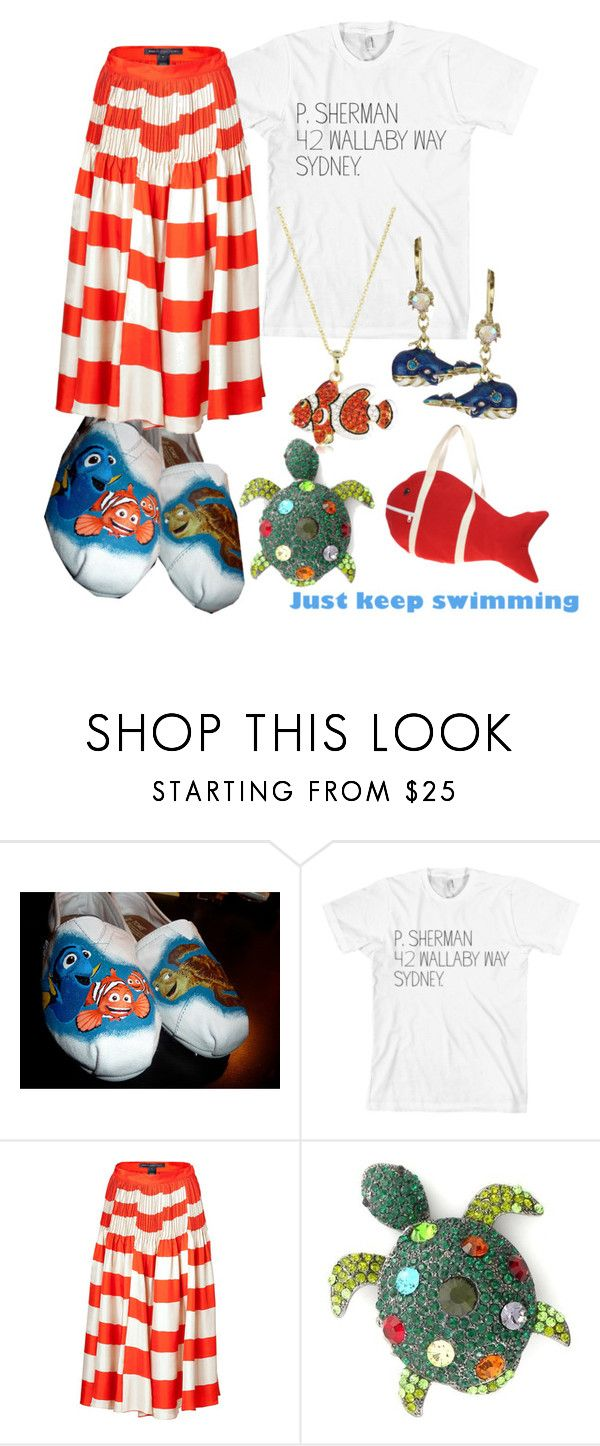 """""""Just Keep Swimming"""" by princesschandler ❤ liked on Polyvore featuring American Apparel, Marc by Marc Jacobs, Andrew Hamilton Crawford, Betsey Johnson, ASOS, character, keep, finding, disney and nemo"""