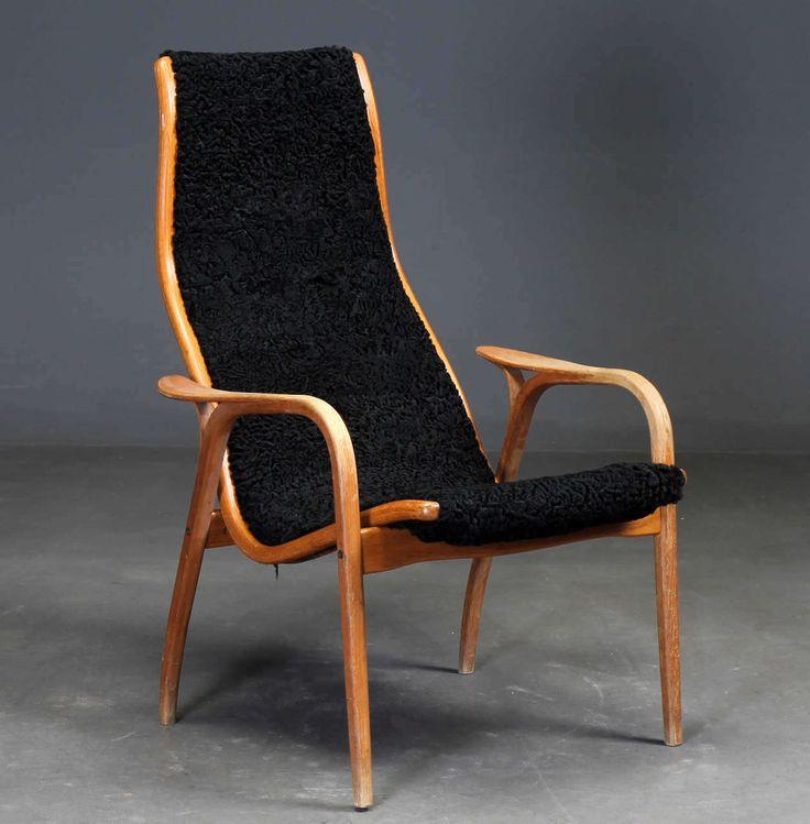 Yngve Ekström Lamino Armchair Upholstered In Black Astrakhan Wool Illums Bolighus Of Copenhagen photo 1