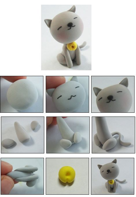 Turorial : How to make a cat clay / Tutoriel : Réaliser un chat en pâte polymère source : http://blog.naver.com/PostList.nhn?blogId=shinanda1219