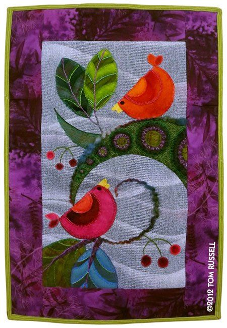 Wool applique project by Tom Russell, made with a blue jeans background for the applique