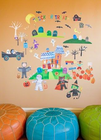 """""""Happy Halloween"""" fabric wall decals by Jill McDonald for Oopsy daisy, Fine Art for Kids $129Canvas Wall, Oopsies Daisies, Jill Mcdonalds, Places Stickers, Wall Decals, Places Wall, Wall Stickers, Happy Halloween, Rooms"""