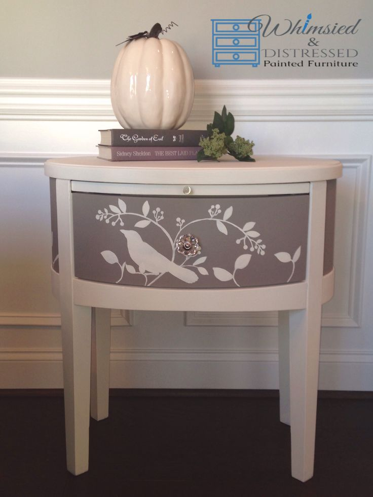 Whimsied U0026 Distressed Hand Painted Accent Table Annie Sloan Old White U0026  French Linen