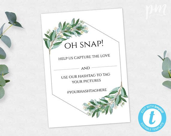 Help Us Capture The Love Oh Snap Template Logo #c59 Branding Printable Greenery Gold Geometric Wedding Hashtag Sign Edit With Templett