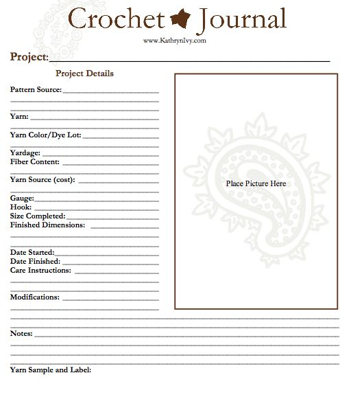 Crochet Journal : Crochet Journal PDF Template by Kathryn Ivy (so need to do this, I ...