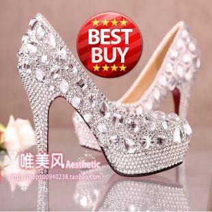 prom heels wedding shoes women high heels crystal high heel shoes woman platforms silver rhinestone platform pumps $45.71