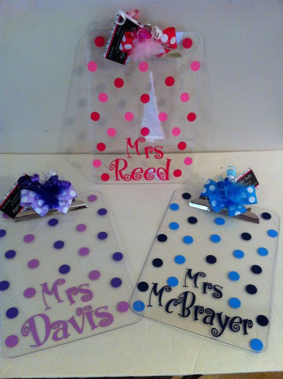 Great gift idea for special ed teachers for data collection days!  Adorable Polka Dot Personalized Clipboards Cute Teacher gifts via Etsy