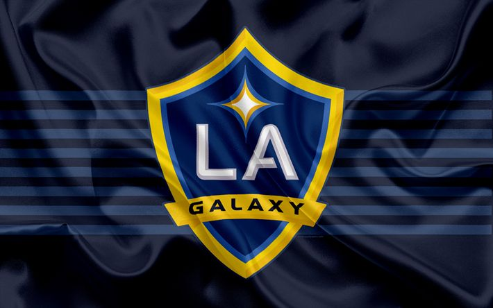 Herunterladen hintergrundbild los angeles galaxy-fc, die american-football-club, mls, major league soccer, emblem, logo, seide flagge, los angeles, kalifornien, usa, fußball