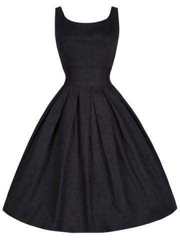 Sin mangas de cuello Scoop Vintage sólido vestido de Midi de las mujeres de color
