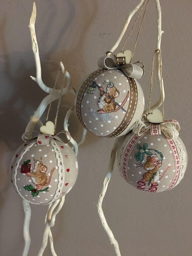 Christmas balls handmade - mouse cross stitch