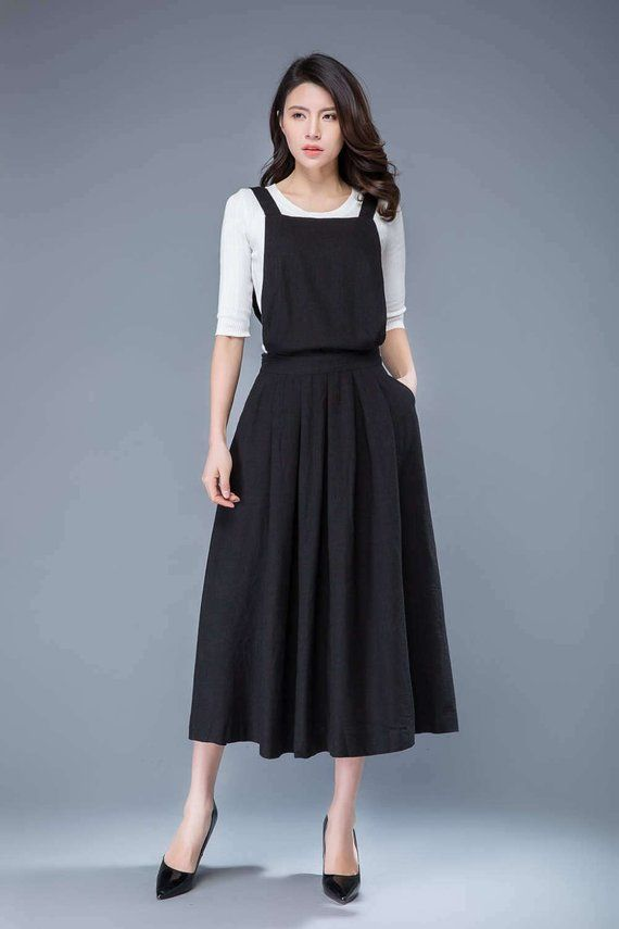 3780adc1a50 Black pinafore dress