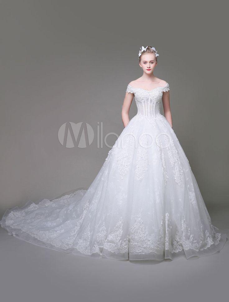Tüll Brautkleid Prinzessin Mit Schleppe Prinzessin mit Schulterfrei und Schnürung Nein in Weiß