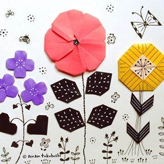 ハールヨコイ。 #お花畑 #折り紙 #イラスト #おりがみ #お花 #paperflower #papercraft #illustration #origami #flowergarden
