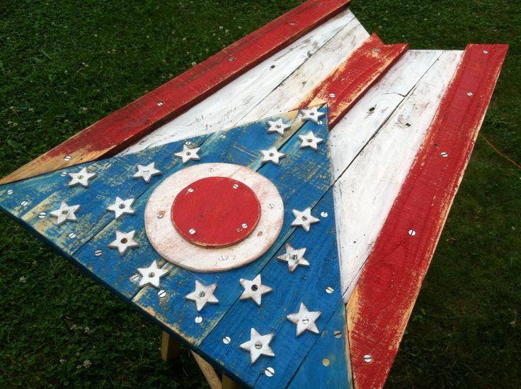 Custom Wood Ohio Flag - reclaimed wood - would be a fun DIY project!