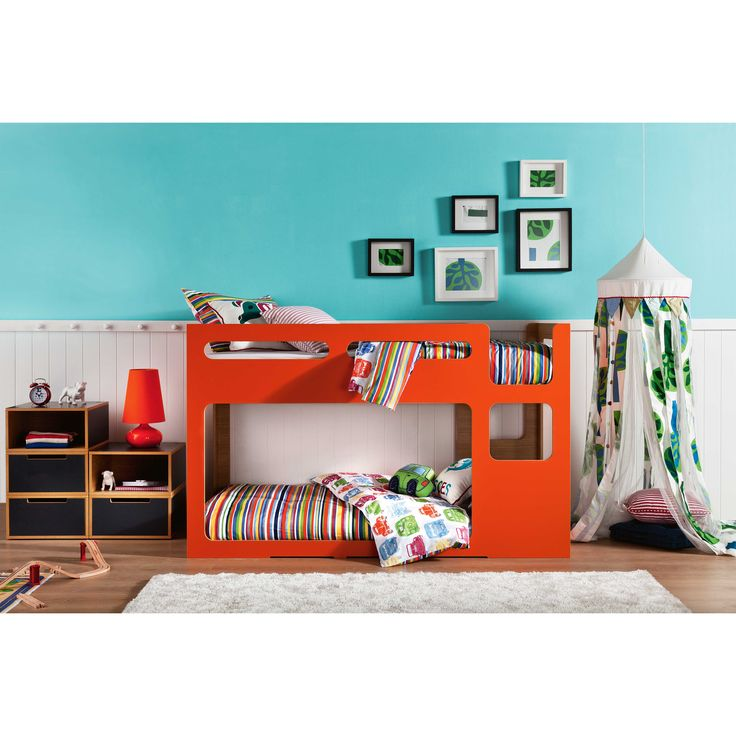 Orange Mod Rounded Corners Bunk Bed Low BedsToddler