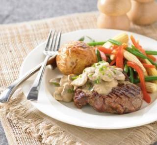 beef with mushroom sauce 200g mushrooms 1/4 cup light thickened cream