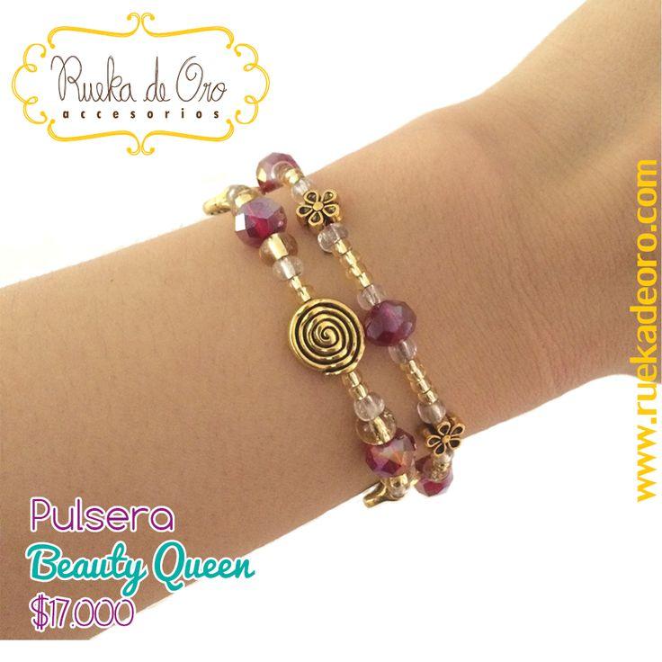 Pulsera Beauty Queen   Rueka de Oro accesorios www.ruekadeoro.com #accesorios #aretes #collares #pulseras #bolsos #cuellos #relojes #fashion #colombia #bogota