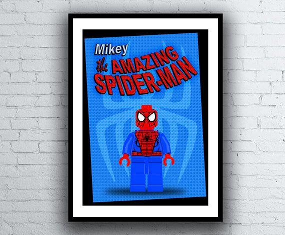 Spiderman Lego Personalised A4 Minifigure Kids